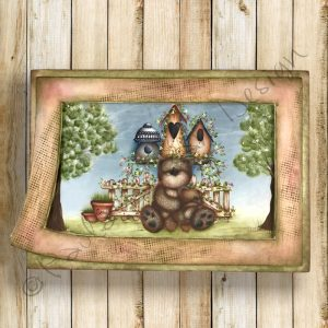 pattern-country-painting-panel-spring-birdhouse-bear-paola-bassan-design-hand-made