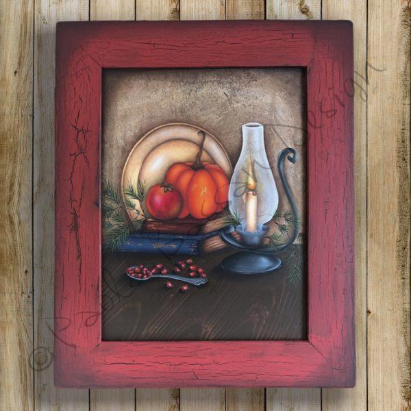 pattern-country-painting-italiano-autumn-vintage-pumpkin-lantern-books-wood-paola-bassan-design-hand-made